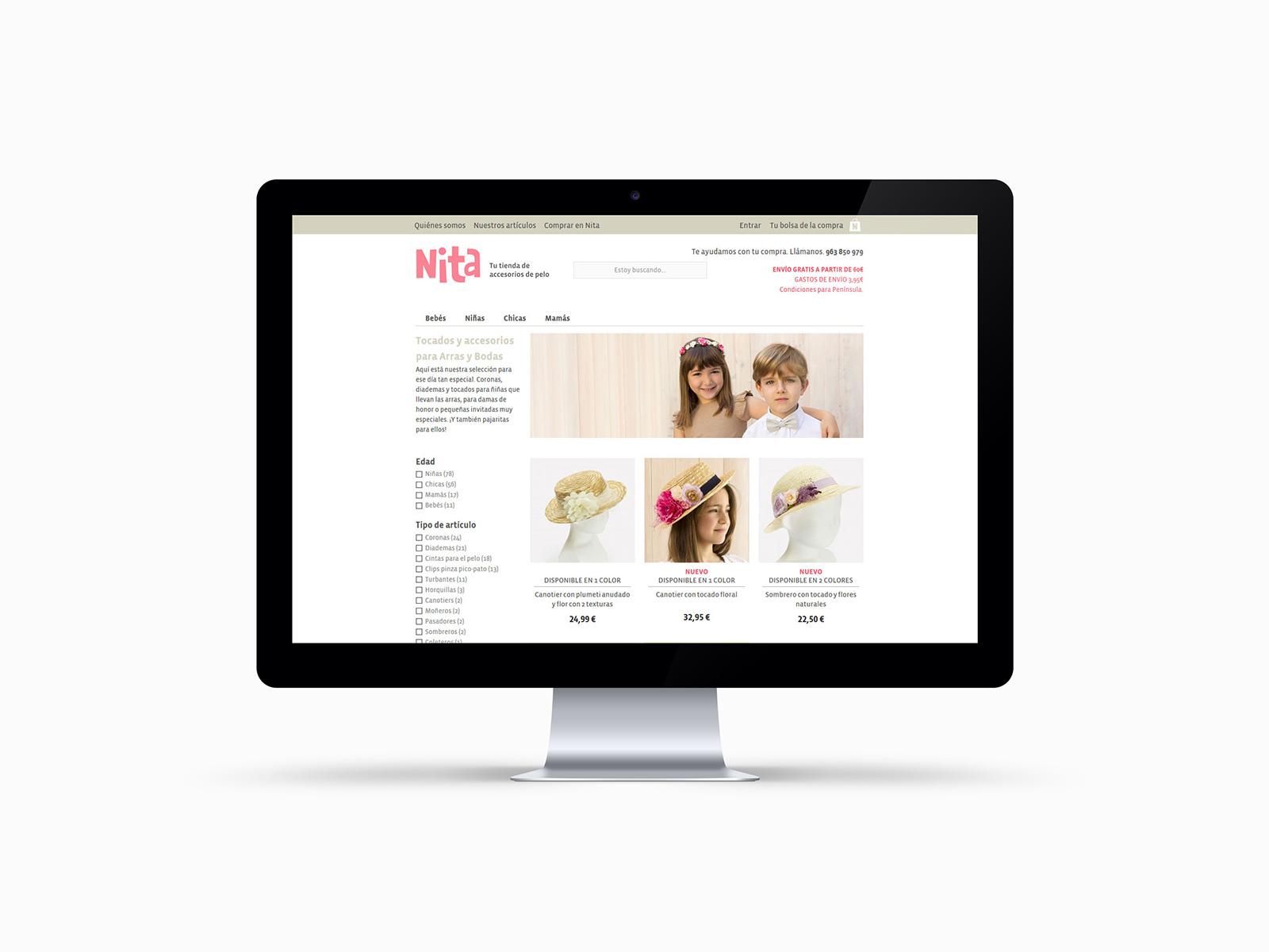 Página de categoría de producto de la tienda Nita Accesorios